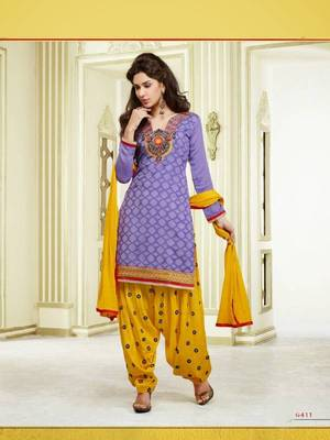Purple and Yellow Chanderi Cotton patiyala patiala salwar kameez unstitched designer suit party wear indian