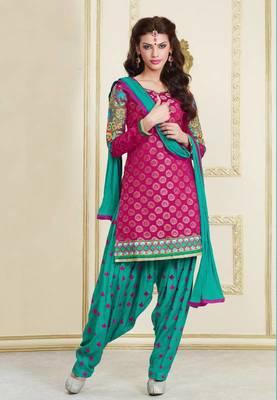 Dark Pink and Sea Green Chanderi cotton patiyala patiala salwar kameez unstitched designer suit party wear indian