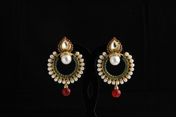 Designer ethnic polki,pearl and semiprecious studded bali