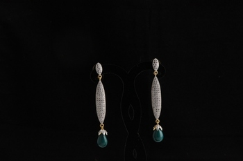 American diamond studded signature earrings green drops