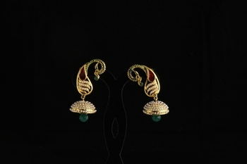 Carry style Designer ethnic polki,pearl and semiprecious studded earrings