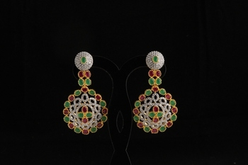 american diamond with semiprecious stylish earring