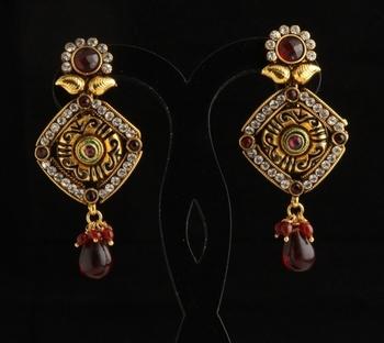 Designer ethnic polki,pearl and semiprecious studded earrings