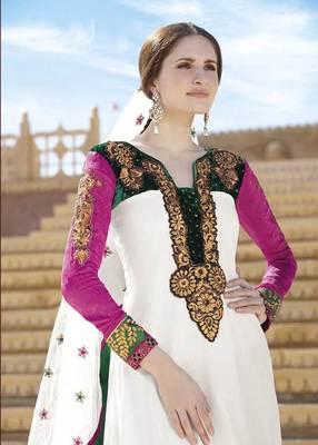 Off White Salwar Kameez Churidar Dress Material SCA7182A