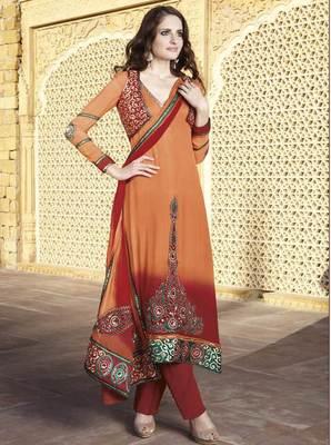 Orange and Maroon Salwar Kameez Churidar Dress Material SCA7192A