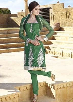 Green Salwar Kameez Churidar Dress Material SCA7198A