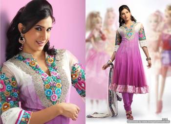 White and Purple Salwar Kameez Churidar Dress Material SCA2002A
