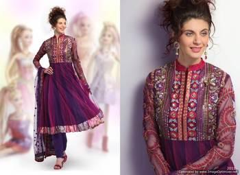 Purple/Magenta Salwar Kameez Churidar Dress MateriaSCA2006A