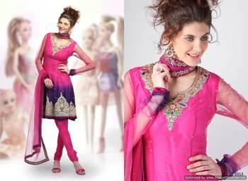 Magenta/Purple Salwar Kameez Churidar Dress Material SCA2007A