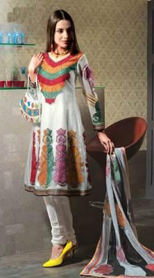 Off White Salwar Kameez Churidar Dress Material SCA3404