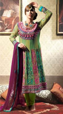 Green Salwar Kameez Churidar Dress Material SCA3419