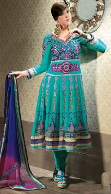 Turquoise Salwar Kameez Churidar Dress Material SCA3431