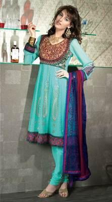 Turquoise Salwar Kameez Churidar Dress Material SCA3442