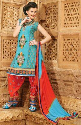 Designer  Sky Blue Patiala Salwar Kameez Dupatta Dress Material SC5603
