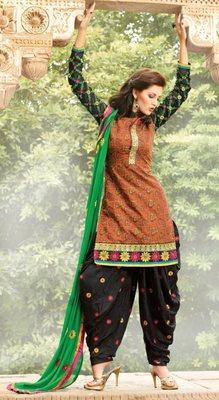 Designer  Orange Patiala Salwar Kameez Dupatta Dress Material SC5604