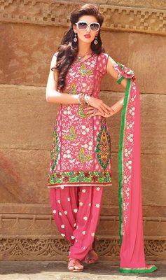 Designer  Dusty Pink Patiala Salwar Kameez Dupatta Dress Material SC5609