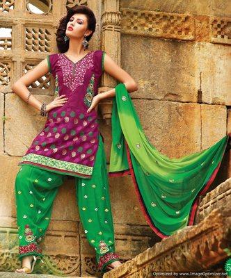 Designer Magenta  Patiala Salwar Kameez Dupatta Dress Material SC5612