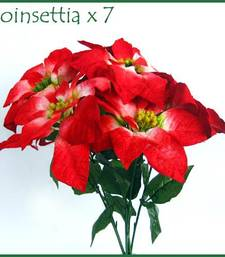 Buy Red Poinsettia - 7 flowers bunch artificial-flower online