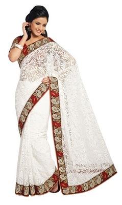 Triveni Elegant White Evening Wear Border Work Net Brasso Indian Saree