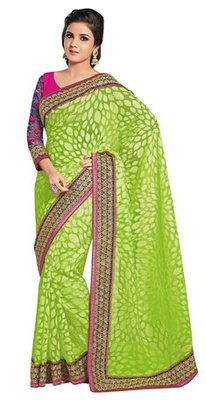 Triveni Evoking Green Evening Wear Border Work Tissue Brasso Indian Saree