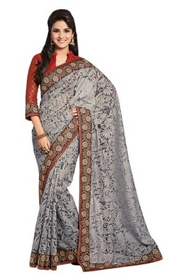 Triveni Impressive Grey Evening Wear Border Work Tissue Brasso Indian Saree