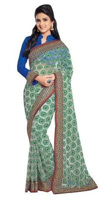 Triveni Fashionable Green Evening Wear Border Work Net Brasso Indian Saree