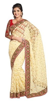 Triveni Noticeable Yellow Evening Wear Border Work Tissue Brasso Indian Saree