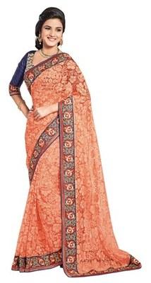 Triveni Magnetic Orange Evening Wear Border Work Net Brasso Indian Saree