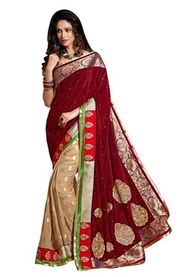 Triveni Indian Traditional Striking Golden Embroidered Bridal Wear Saree
