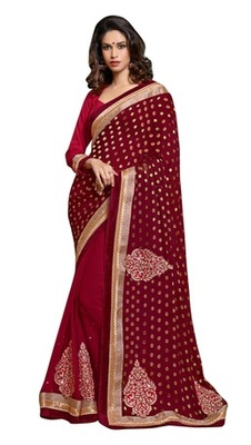 Triveni Indian Traditional Amazing Golden Embroidered Georgette Saree
