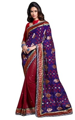 Triveni Indian Traditional Elegant Geometrical Patterned Maroon Saree