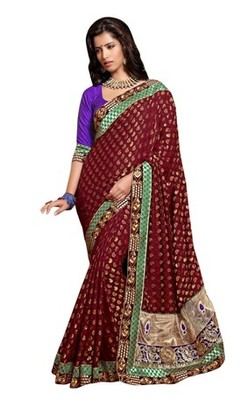 Triveni Indian Traditional Sparkling Golden Paisely Embroidered Saree