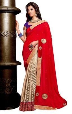 Triveni Indian Traditional Impressive Bright Colored Jacquard Saree