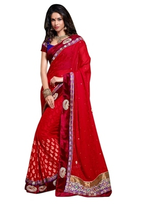 Triveni Indian Traditional Elite Velvet Bordered Faux Georgette Saree