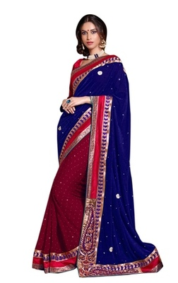 Triveni Indian Traditional Fashionable Embroidered Broad Bordered Saree