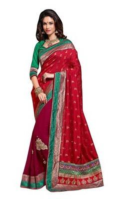 Triveni Indian Traditional Entrancing Broad Bordered Dual Colored Saree