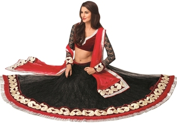 Triveni Awesome Velvet Bordered Net Indian Latest Exclusive Lehenga Choli