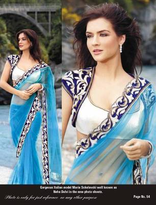 bollywood Party wear Sky Blue net designer saree with blouse unstitched