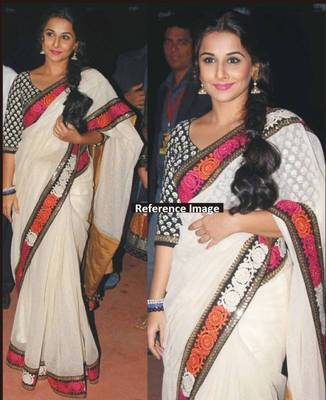 Vidya Balan Tussar Silk Sequins work Bollywood Style Saree
