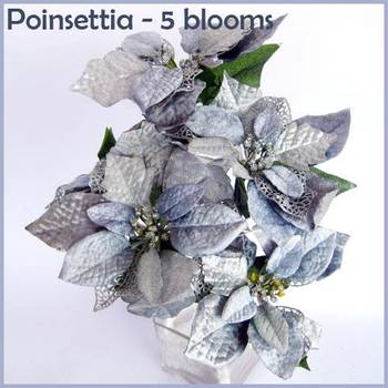 Poinsettia Bunch Grey - 5 flowers bunch