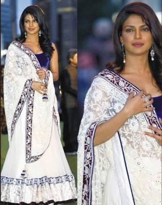 Priyanka Chopra Net Sequins work Bollywood Style Saree