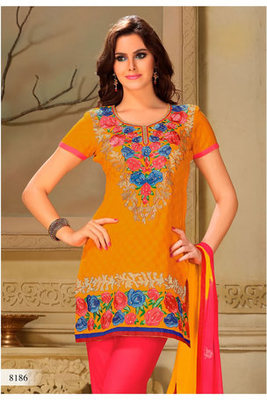 Casual Wear Orange Dress Material