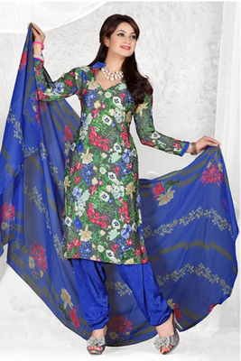 Dealtz Fashion Casual Printed Mehendi Green Dress Material