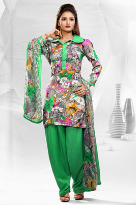 Dealtz Fashion Casual Printed Green Dress Material