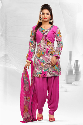 Dealtz Fashion Casual Printed Pink Dress Material