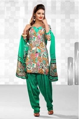 Dealtz Fashion Casual Printed Green Dress Material