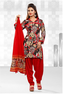 Dealtz Fashion Casual Printed Red Dress Material