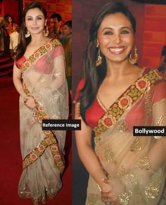 Rani  Mukherjee Net Sequins work Bollywood Style Saree