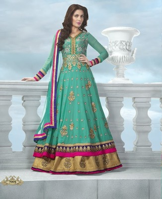 Sea Green Long Georgette Anarkali Kameez with Dupatta