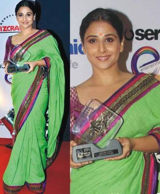 Vidya Balan Georgette Sequins work Bollywood Style Saree